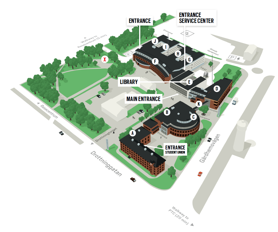 Overview of campus buildings at University West. Illustration.